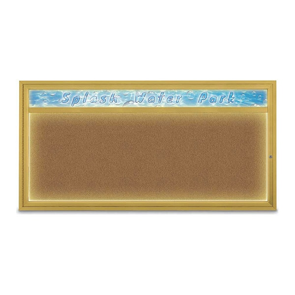 "United Visual Products Corkboard, 72""x36"", Synthetic Cork/Gold UV453HILED1-GOLD-FORBO"