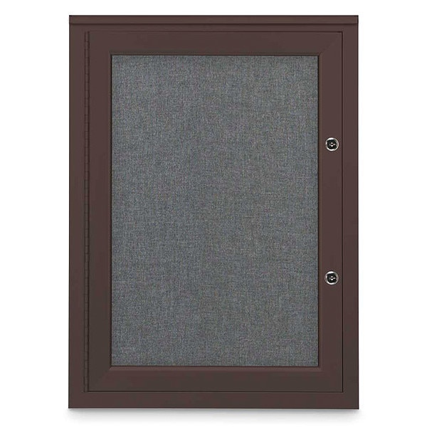 "United Visual Products Corkboard, 18""x24"", Medium Grey/Bronze UV401PLUS-BRONZE-MEDGRY"