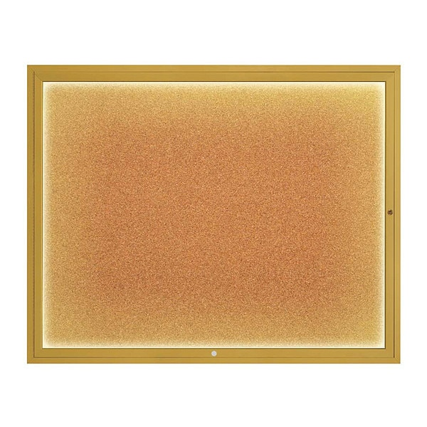 "United Visual Products Corkboard, 60""x48"", Cork/Gold UV417ILED2-GOLD-CORK"
