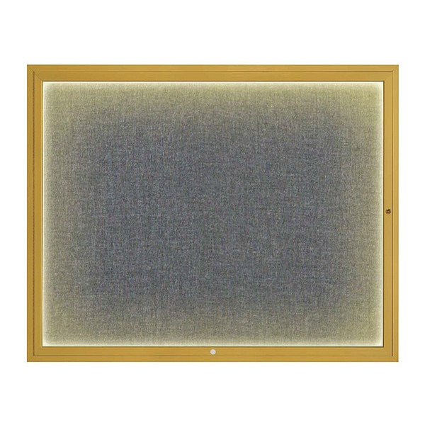 "United Visual Products Corkboard, 60""x48"", Medium Grey/Gold UV417ILED2-GOLD-MEDGRY"
