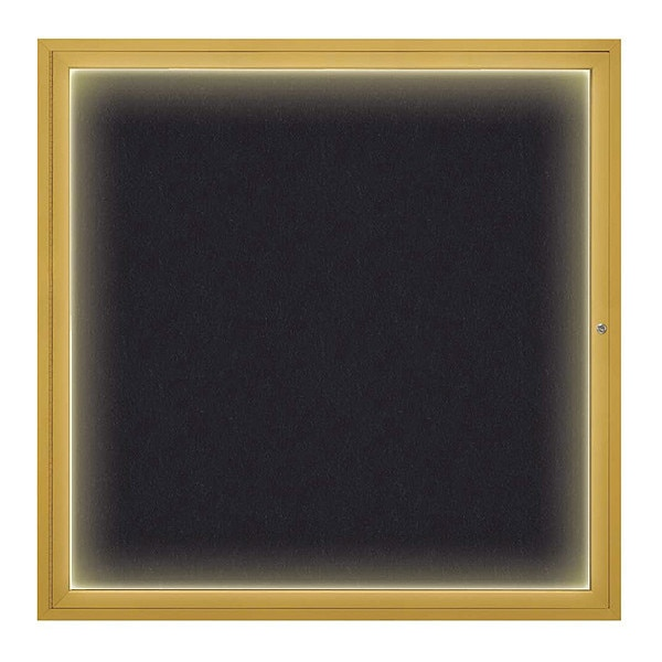 "United Visual Products Corkboard, 48""x48"", Rubber/Gold UV416I48-GOLD-RUBBER"