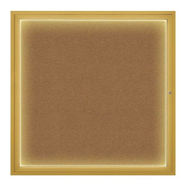 """United Visual Products Corkboard, 48""""x48"""", Synthetic Cork/Gold UV416I48-GOLD-FORBO"""