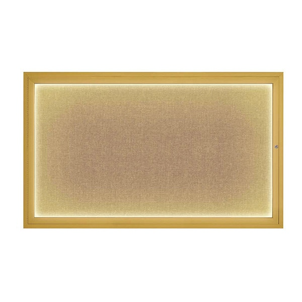 "United Visual Products Corkboard, 60""x36"", Buff/Gold UV417ILED1-GOLD-BUFF"