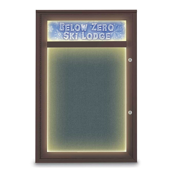 "United Visual Products Corkboard, 24""x36"", Blue Spruce/Bronze UV450HILEDPLUS-BRONZE-BLSPRU"
