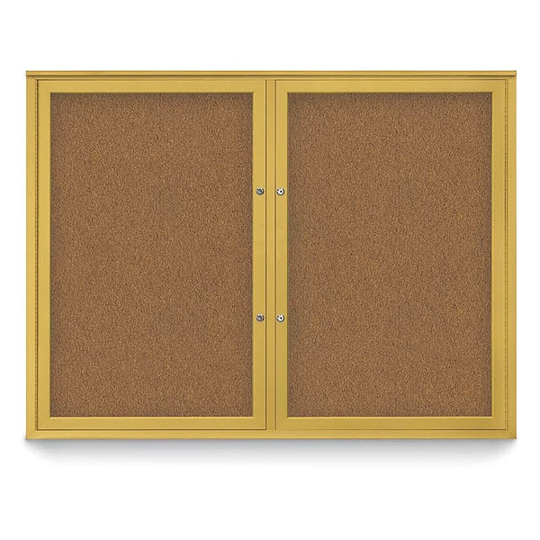 """United Visual Products Corkboard, 48""""x36"""", Synthetic Cork/Gold UV404PLUS-GOLD-FORBO"""