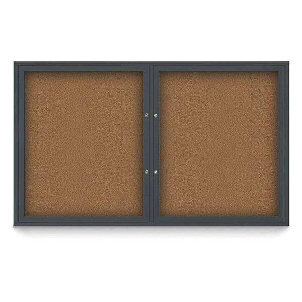 "United Visual Products Corkboard, 60""x36"", Synthetic Cork/Black UV405PLUS-BLACK-FORBO"
