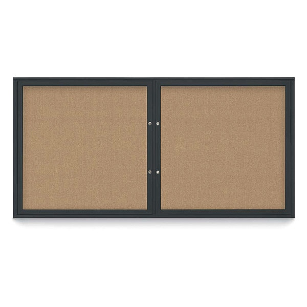"United Visual Products Corkboard, 72""x36"", Buff/Black UV406PLUS-BLACK-BUFF"