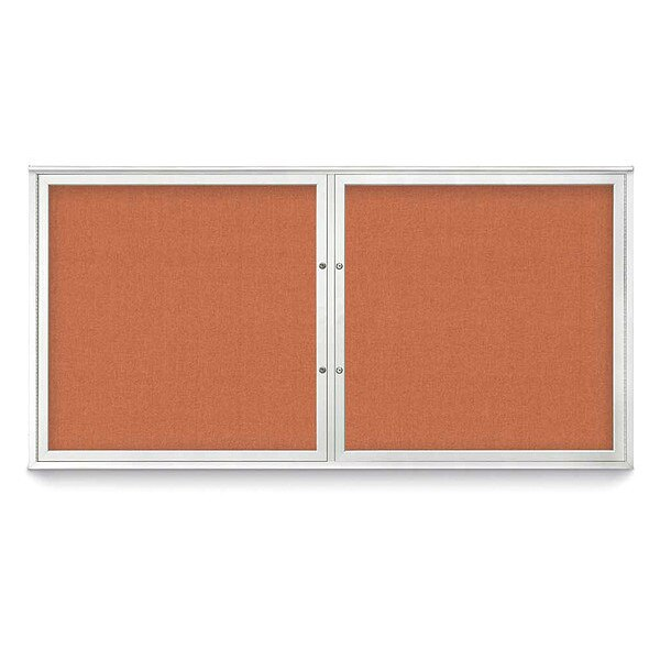 "United Visual Products Corkboard, 72""x36"", Apricot/Satin UV406PLUS-SATIN-APRICOT"