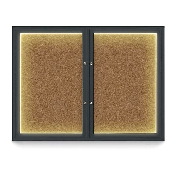 "United Visual Products Corkboard, 48""x36"", Synthetic Cork/Black UV416ILEDPLUS-BLACK-FORBO"