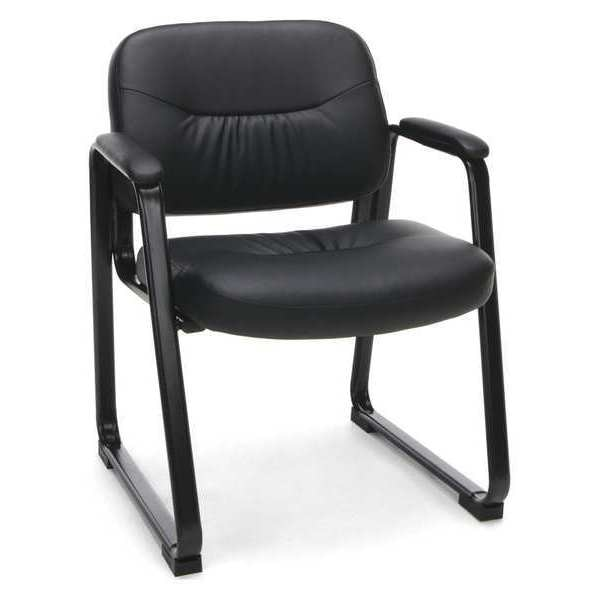 Ofm Inc Sled Base Chair with Arms, Leather, Black ESS-9015