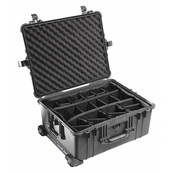 """Pelican Products Inc. Black Padded Divider Case,  31.59""""L x 22.99""""W x 19.48""""D,  Material: Copolymer 1664"""