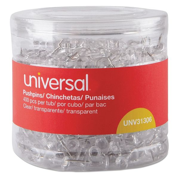 Universal Clear Push Pins, PK400 31306