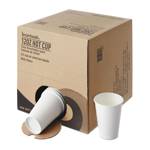 Boardwalk Hot Cup 12 oz. White,  Paper,  Pk225 HENHCUP12OP