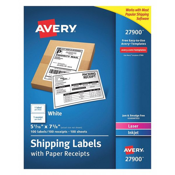 Avery Label, Shp, Rec, 1Up, Wh, PK100 7278227900
