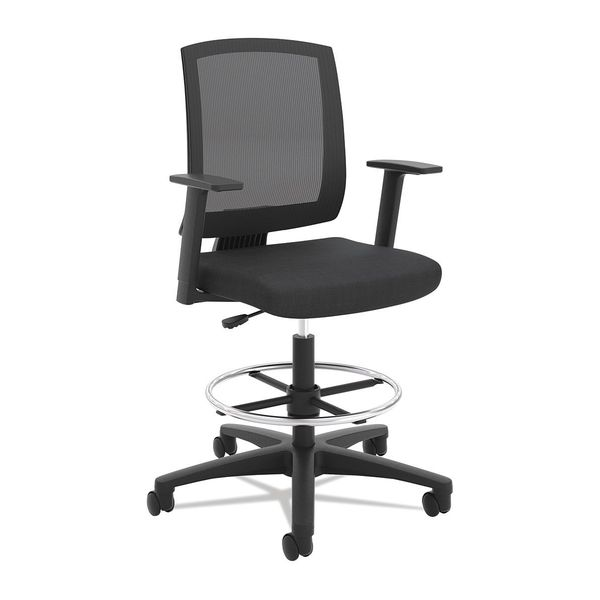 Basyx Mesh Task Stool W/ Fixed Arms, Blk BSXVL515LH10