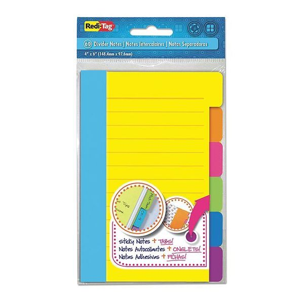 Redi-Tag Note, Dividr, Lined, Tab, Ast, PK180 10245