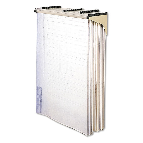 Safco Sheet File Drop/Lift Wall Rack,  12 Hanging Clamps, 43.75x11.5x7.75, Sand 5030