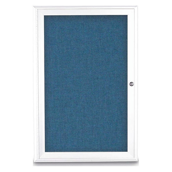 "United Visual Products Corkboard, Single Door, Radius Frame, 24x36"", White/Ultramarine UV7001-WHITE-ULTMAR"