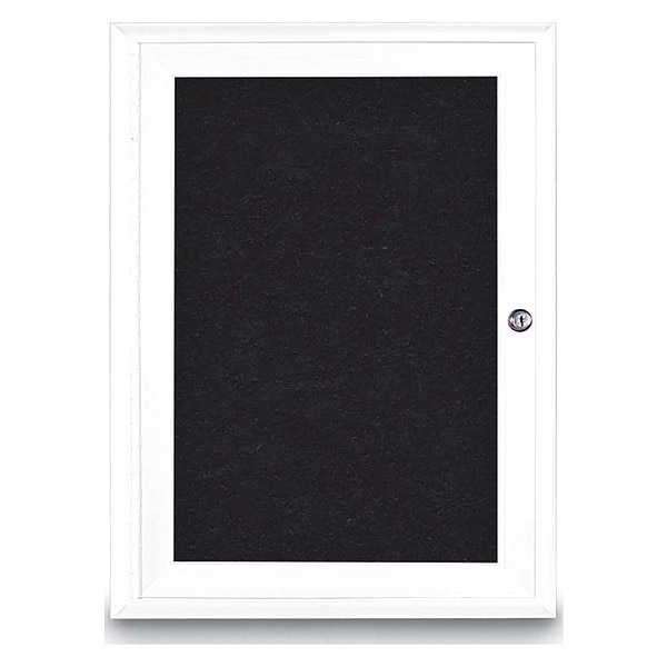 "United Visual Products Corkboard, Single Door, Radius Frame, 18x24"", White/Black Rubber UV7000-WHITE-RUBBER"