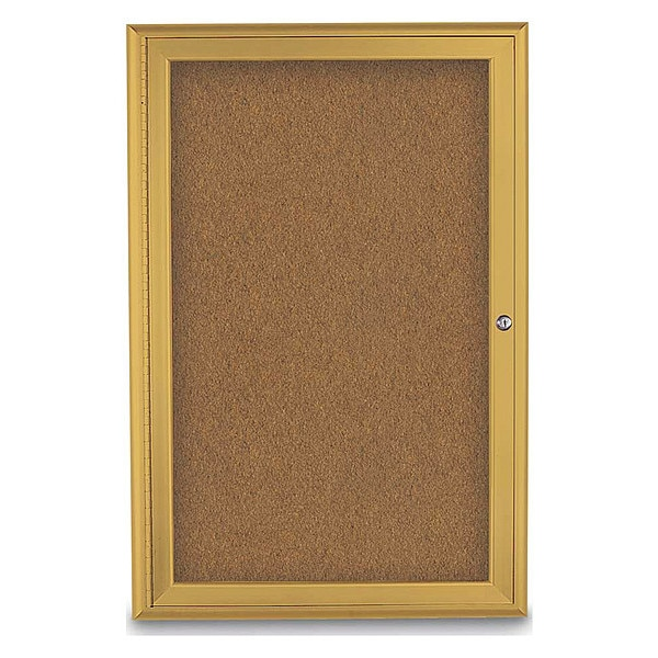 """United Visual Products Corkboard, Single Door, Radius Frame, 24x36"""", Gold/Summer Tan Forbo UV7001-GOLD-FORBO"""