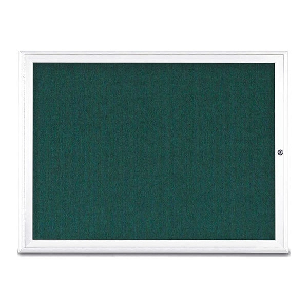 "United Visual Products Corkboard, Single Door, Radius Frame, 48x36"", White/Dark Spruce UV70031-WHITE-DRKSPR"