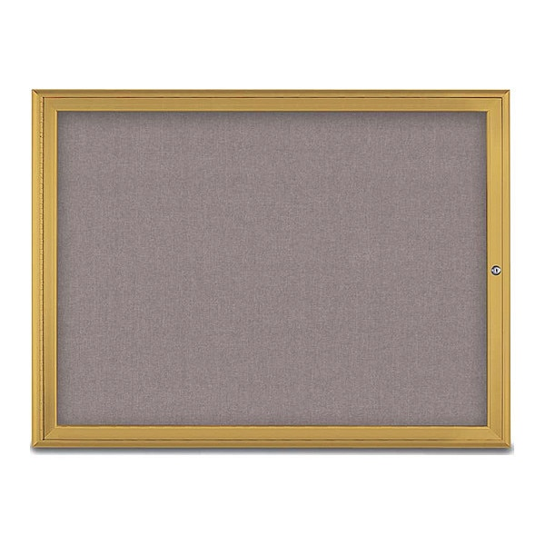 "United Visual Products Corkboard, Single Door, Radius Frame, 48x36"", Gold/Surf UV70031-GOLD-SURF"