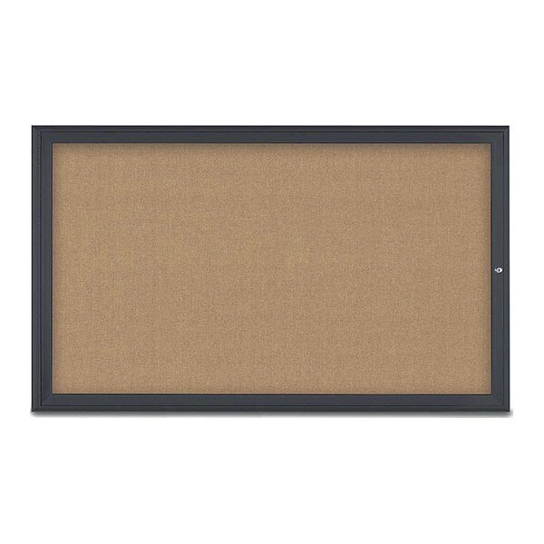 "United Visual Products Corkboard, Single Door, Radius Frame, 60x36"", Black/Buff UV70041-BLACK-BUFF"