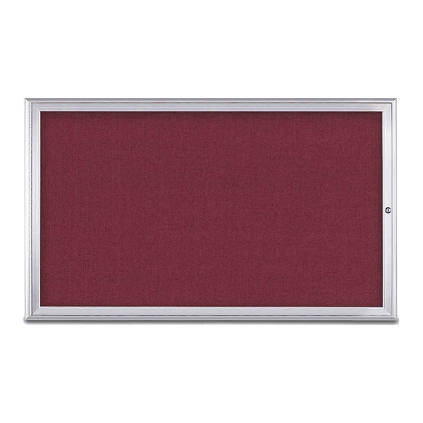 "United Visual Products Corkboard, Single Door, Radius Frame, 60x36"", Satin/Burgundy UV70041-SATIN-DBURGU"