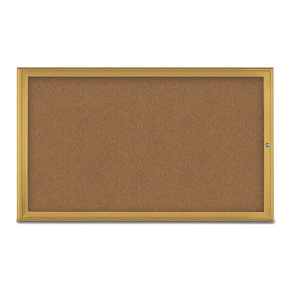 """United Visual Products Corkboard, Single Door, Radius Frame, 60x36"""", Gold/Summer Tan Forbo UV70041-GOLD-FORBO"""