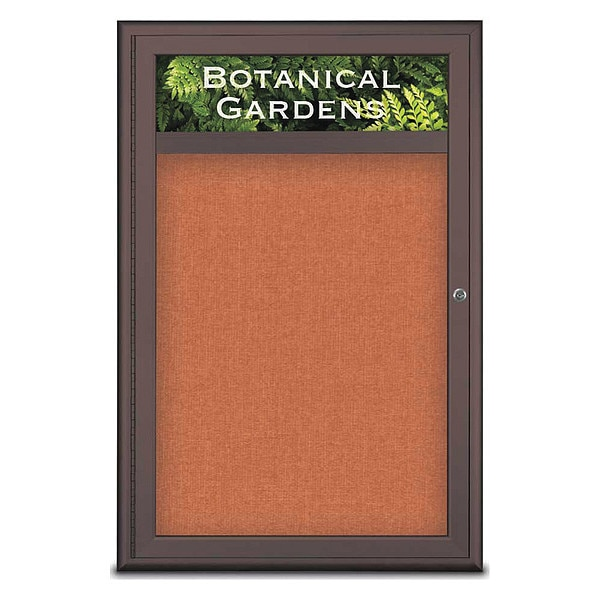 "United Visual Products Corkboard, Single Door, Radius Frame, Header, 24x36"", Bronze/Apricot UV7011-BRONZE-APRICOT"