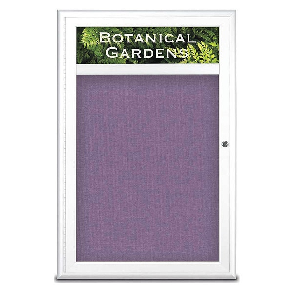 "United Visual Products Corkboard, Single Door, Radius Frame, Header, 24x36"", White/Amethyst UV7011-WHITE-AMETHY"