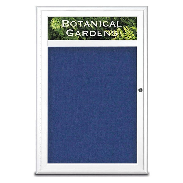 "United Visual Products Corkboard, Single Door, Radius Frame, Header, 24x36"", White/Cobalt UV7011-WHITE-COBACC"
