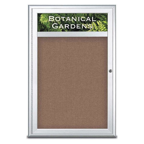 "United Visual Products Corkboard, Single Door, Radius Frame, Header, 24x36"", Satin/Pumice UV7011-SATIN-PUMICE"