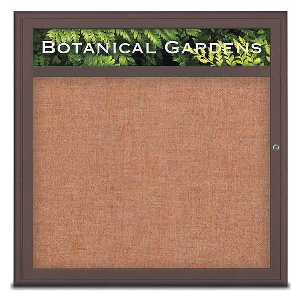 "United Visual Products Corkboard, Single Door, Radius Frame, Header, 36x36"", Bronze/Cinnamon UV7012-BRONZE-CINNABA"