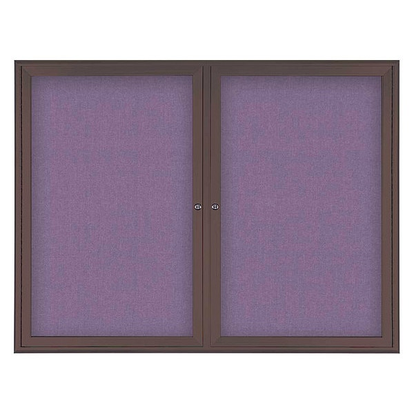 "United Visual Products Corkboard, Double Door, Radius Frame, 42x32"", Bronze/Amethyst UV70025-BRONZE-AMETHY"
