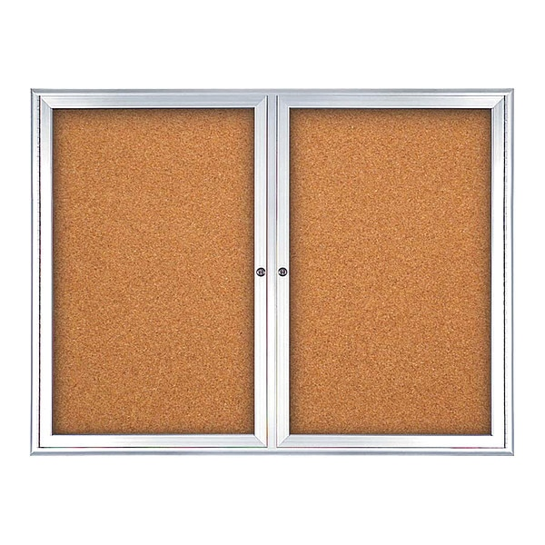 "United Visual Products Corkboard, Double Door, Radius Frame, 42x32"", Satin/Black Rubber UV70025-SATIN-RUBBER"