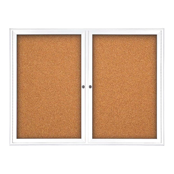 "United Visual Products Corkboard, Double Door, Radius Frame, 42x32"", White/Black Rubber UV70025-WHITE-RUBBER"