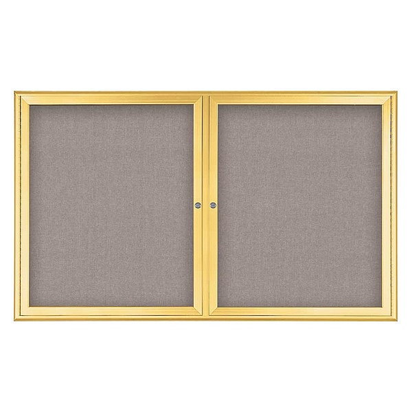 "United Visual Products Corkboard, Double Door, Radius Frame, 60x36"", Gold/Pearl UV7004-GOLD-PEARL"