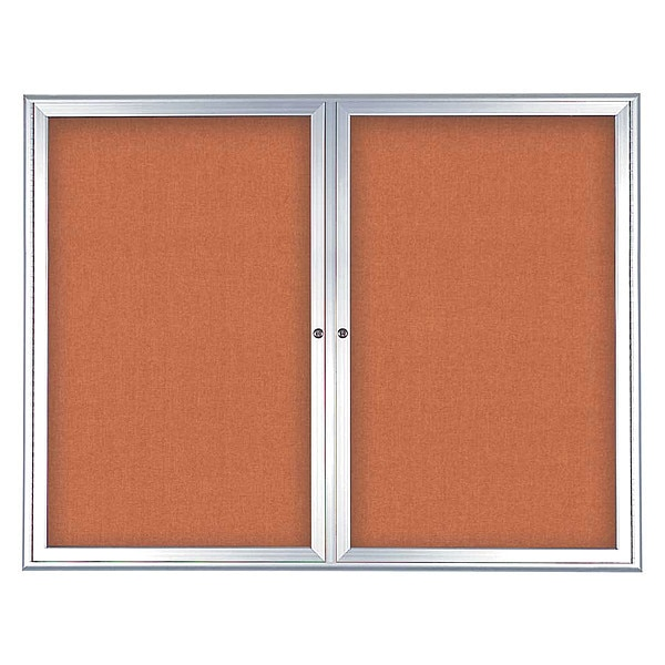 "United Visual Products Corkboard, Double Door, Radius Frame, 48x36"", Satin/Apricot UV7003-SATIN-APRICOT"