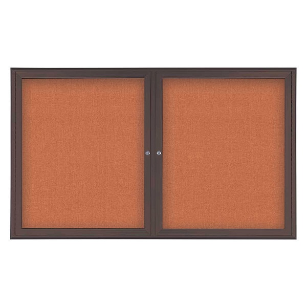 "United Visual Products Corkboard, Double Door, Radius Frame, 60x36"", Bronze/Apricot UV7004-BRONZE-APRICOT"