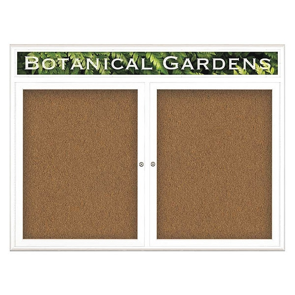 """United Visual Products Corkboard, Double Door, Radius Frame, Header, 48x36"""", White/Tan Forbo UV7013-WHITE-FORBO"""