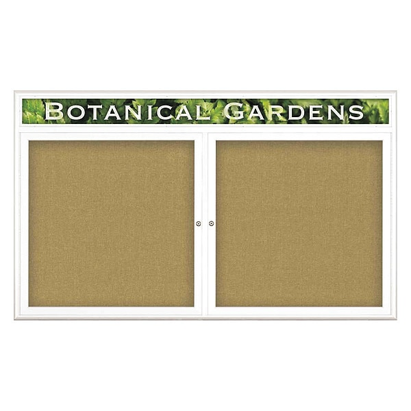 "United Visual Products Corkboard, Double Door, Radius Frame, Header, 60x36"", White/Keylime UV7014-WHITE-KEYLIME"