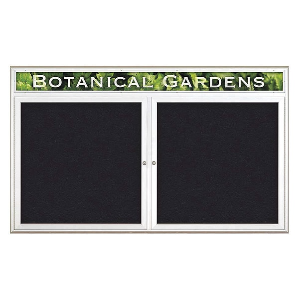"United Visual Products Corkboard, Double Door, Radius Frame, Header, 60x36"", Satin/Black Rubber UV7014-SATIN-RUBBER"