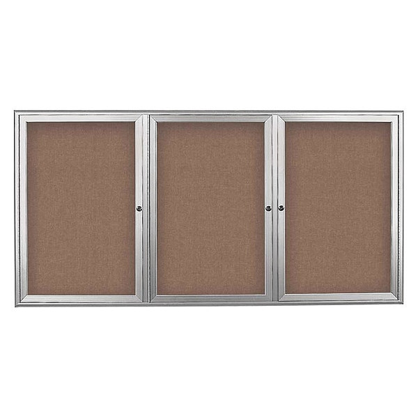 "United Visual Products Corkboard, Triple Door, Radius Frame, 72x36"", Satin/Pumice UV7005-SATIN-PUMICE"
