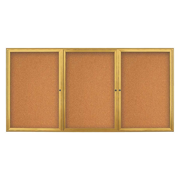 "United Visual Products Corkboard, Triple Door, Radius Frame, 96x48"", Gold/Natural Tan Cork UV7006-GOLD-CORK"