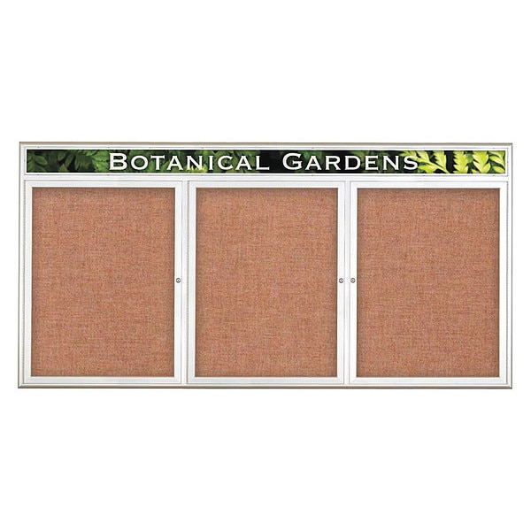 "United Visual Products Corkboard, Triple Door, Radius Frame, Header, 96x48"", Satin/Cinnamon UV7016-SATIN-CINNABA"