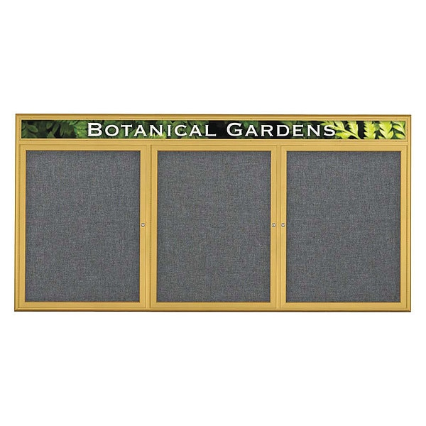 "United Visual Products Corkboard, Triple Door, Radius Frame, Header, 96x48"", Gold/Medium Gray UV7016-GOLD-MEDGRY"