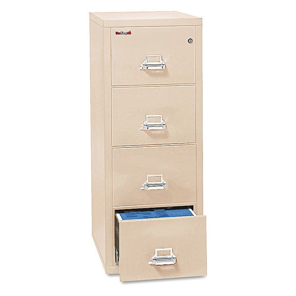 Fireking Vertical File, 4-Drawer,  17.75x31 9/16,  UL 350° for Fire,  Ltr, Parchment 4-1831-CPA