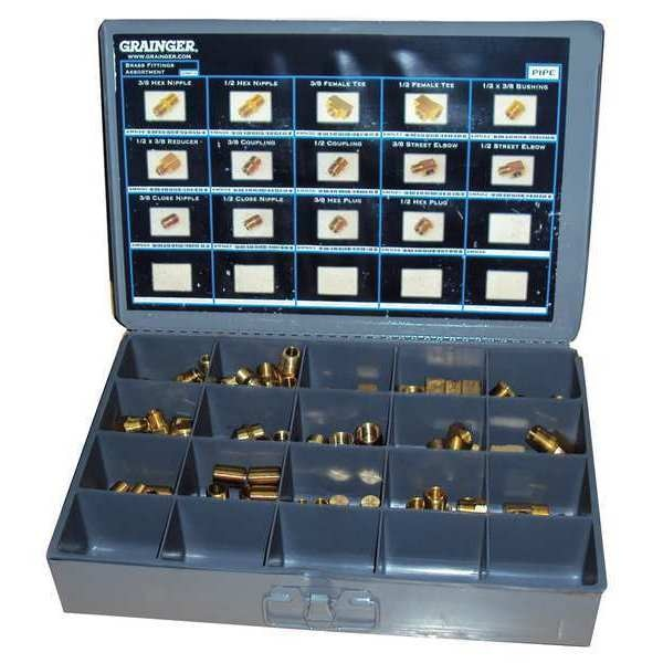 Zoro Select 70 Piece Assorted NPT Brass Pipe Fitting Kit 6AZF6