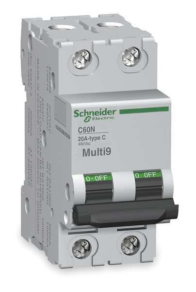 Schneider Electric IEC Supplementary Protector,  15 A,  Not Rated,  2 Pole,  DIN Rail Mounting Style,  C60H-DC Series MGN61530